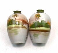 2 X Japanese Nikon Hand Painted Miniature Vases Urns