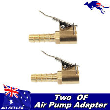 2x AIR CHUCK 12V COMPRESSOR ADAPTER SCREW ON TO CLIP ON TYRE CHUCK