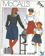 McCall's Pattern 2157 Girls' Blouse and Skirt Size 7 Uncut