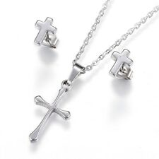 2pce Stainless Steel Christian Cross Necklace & Matching Stud Earring Set