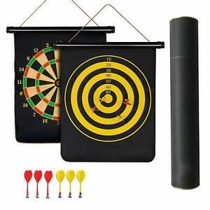 2 Sided 17-inch Roll Up Magnetic Dart Board Set with 6 Darts, Black target games