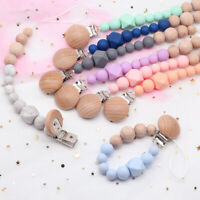 Silicone Wood Beads Baby Dummy Pacifier Chain Clips Soother Holder Shower Gifts