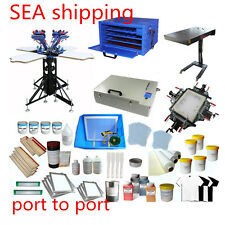 SEA- 110V 4 Color Screen Printing Rotary Printer & Flash Dryer / Ink Supplies