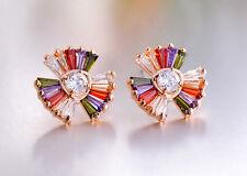 18K Rose Gold GF Swarovski Crystal Flower Fashion Rainbow Stud Earrings