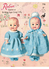 """VINTAGE KNITTING PATTERN COPY  - KNIT CLOTHES FOR  10-12-14"""" DOLLS -  1960's"""