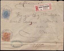 REGNO 1896 - 20 +25 c. n.61+62 RACCOMANDATA MILANO UNIONE COOPERATIVA € 100++