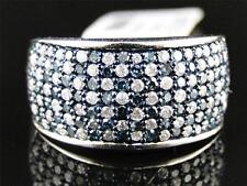 New Ladies White Gold Finish Blue/White Diamond Fashion Wedding Band Ring 1.0 Ct