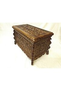 Premium Hand Carved Solid Wood Storage Coffee Table Wedding Chest Natural Box