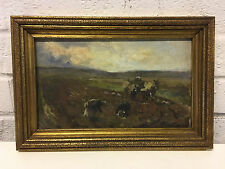 Vintage Antique Oil on Canvas Board Fred Jackson Painting of Workers in a Field