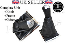 FOR FORD FOCUS MK2 II 05-08 5 SPEED KNOB + GEAR GAITER SHIFT BOOT + SILVER FRAME