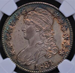 1831 CAPPED BUST HALF NGC MS 63+ GORGEOUS BRITE SAPPHIRE AND GARNET ON THE RIMS