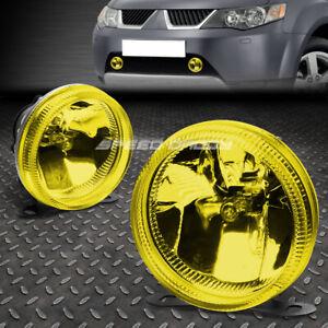 "3.5"" YELLOW/AMBER GLASS LENS ROUND UNIVERSAL FOG LIGHT LAMP/W BUILT IN BULBS SUV"