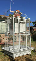 "78"" Large Wrought Iron Open Play Top Double Dome Ladder Parrot Macaw Bird Cage"