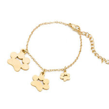 1pc Cute Stainless Steel Dog Paw Prints Pendant Gold Fashion Bracelet Lady Gift