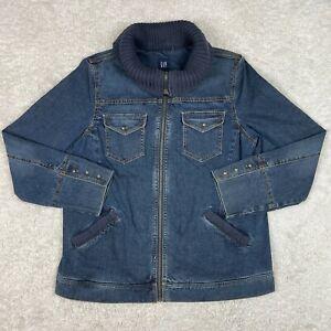 Gap Denim Jacket Womens Large Maternity Jean Medium Wash Cowl Neck Full Zip