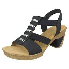 Rieker Antistress Ladies Smart Heeled Sandals 69792 Blue 5 UK Standard