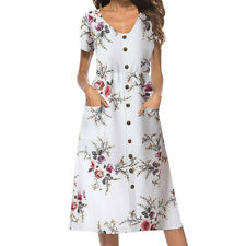 Summer Buttons Women Floral Printed Short Sleeved Casual Party Beach Midi Dress
