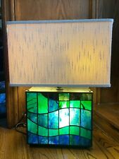 Vintage Quoizel Stained Glass Blue Green Square Lamp Mid Century Modern Style