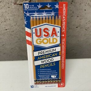 Pack Of 10 USA GOLD Premium American Wood Pencils #2 HB Pre-Sharpened