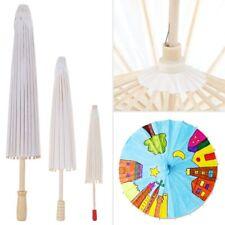 Chinese Retro Mini Paper Umbrella White Parasol Kids Painting DIY Toy Gift