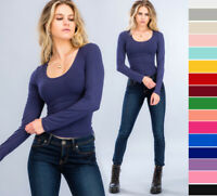 Women's Basic Seamless Stretch Scoop Neck Long Sleeve Fitted Top T-Shirt Solids