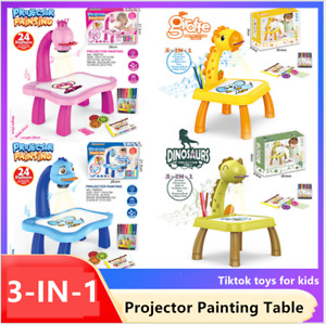 Kids LED Projection Painting Table Crayons Pens Paints Pencils Drawing Book