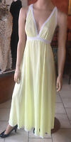 Vtg Olga Pale Yellow Buttercup Lace Nightgown M #9626 Soft Nylon Negligee Bridal