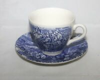 Staffordshire Ironstone Set Of 4 Cup & Saucer, Blue Transferware, Covent Garden