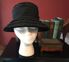 True Vintage Hat Cloche Straw Banded Retro Hollywood Glam Church Hipster Black