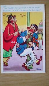 Humour saucy postcard unused Trow seaside colour