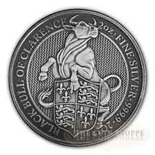 ANTIQUE BLACK BULL - QUEEN'S BEASTS - 2018 2 oz Pure Silver Coin - MINTAGE 150