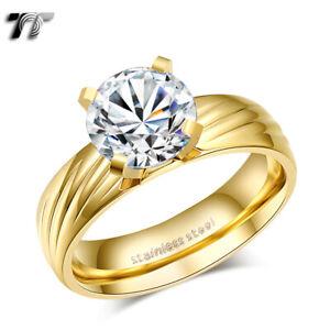 TT 14K Gold Multi Stripe Stainless Steel Engagement Wedding Band Ring (R332)