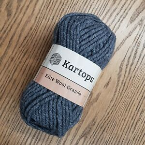 Kartopu Elite Wool Grande 5 x100g 49% wool Super Chunky colour K1003 grey