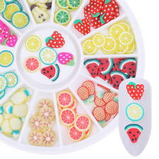 12 Patterns 3D Nail Art Decoration in Wheel Lovely Fruit Fimo Colorful Sparkle