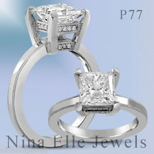 Solitaire Princess Cut Diamond Engagement Ring with Round Diamond Accents P77
