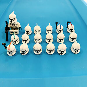 LEGO Star Wars Clone Trooper Helmet LOT of 18 - 4 Helmets Have Sharpie Marks