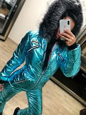 Blue Metallic Skisuit Snowsuit Ski Anzug Suit Shiny Glanz Nylon Jumpsuit Winter