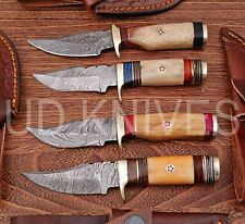 LOT OF 4   6 INCH CUSTOM DAMASCUS STEEL  HUNTING KNIFE  WOOD HANDLE B6-12094