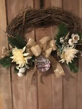 "Handmade Christmas Grapevine Wreath "" Merry Christmas"" Sign 22"" Natural Colors"