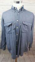 Vintage Tommy Hilfiger Box Logo Thick Cotton Button Shirt Men's Size Large