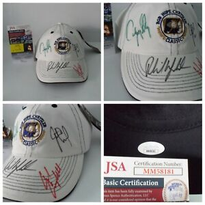Phil Mickelson Justin Leonard Jerry Kelly Chad Campbell Signed Golf Hat JSA COA