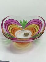 "Vintage Small Murano Candy Dish Hand Paint Made In Italy 4.5""Diameter Pink Orang"