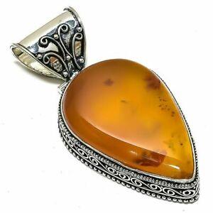 "Yellow Lace Agate Gemstone Handmade  Jewelry Pendant 2.4""  mkl34"