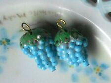 Vintage Grape Cluster Charms Pearl Filigree Drops Dangles Patina Bead Cap #1006X