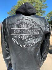 Harley Davidson Men's ROAD WARRIOR 3N1 Leather Jacket Medium Black Reflective
