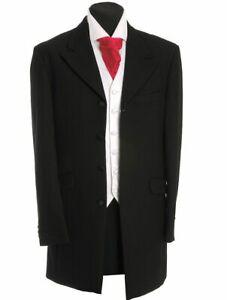 MEN'S BOYS PRINCE EDWARD 3/4 LENGTH COAT BLACK JACKET WEDDING FUNERAL PROM ACT