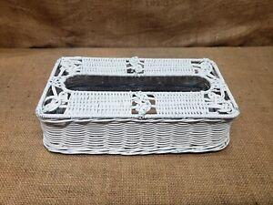 OLD VINTAGE SHABBY WHITE WICKER TISSUE BOX COVER KLEENEX HOLDER BASKETWEAVE