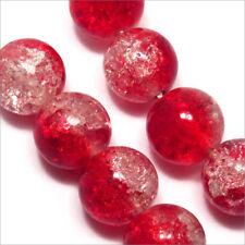 Lot de 20 perles craquelées en verre 10mm Bicolore Rouge cristal