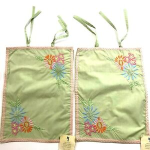 NWT TWO Pottery Barn Kids MADELINE Embroidered Pillow Shams Mint Green/Pink