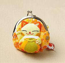 Japanese Silk cute Lucky Cat Maneki Neko Coin Change Wallet Purse Bag yellow